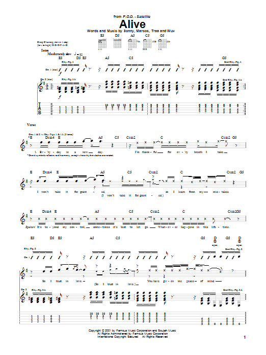 P.O.D. (Payable On Death) Alive sheet music notes and chords. Download Printable PDF.