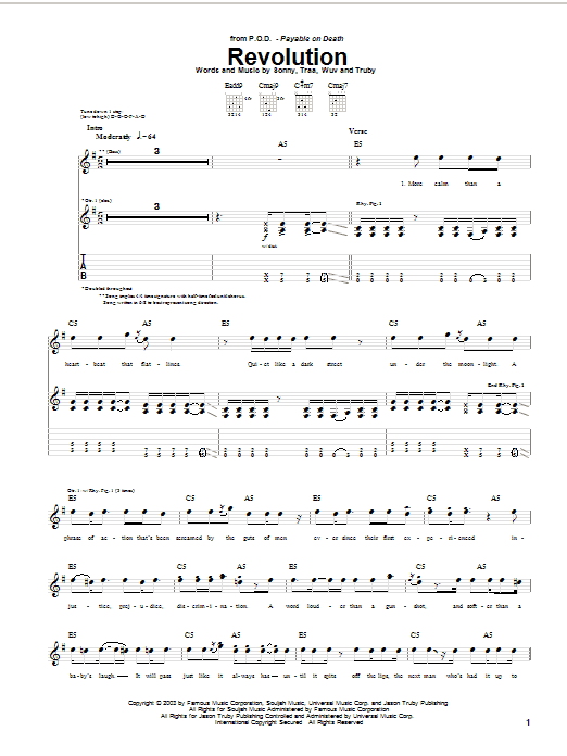 P.O.D. (Payable On Death) Revolution sheet music notes and chords. Download Printable PDF.