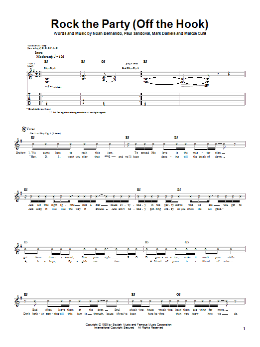 P.O.D. (Payable On Death) Rock The Party (Off The Hook) sheet music notes and chords