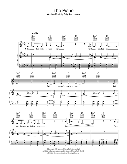 P J Harvey The Piano sheet music notes and chords