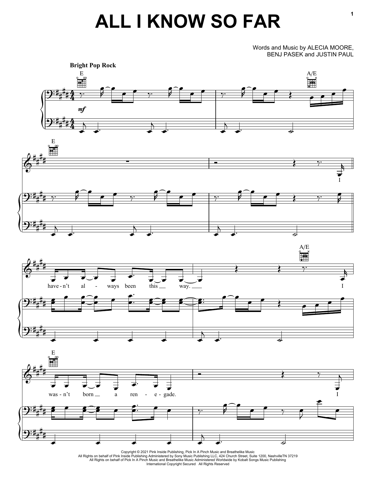 P!nk All I Know So Far sheet music notes and chords. Download Printable PDF.