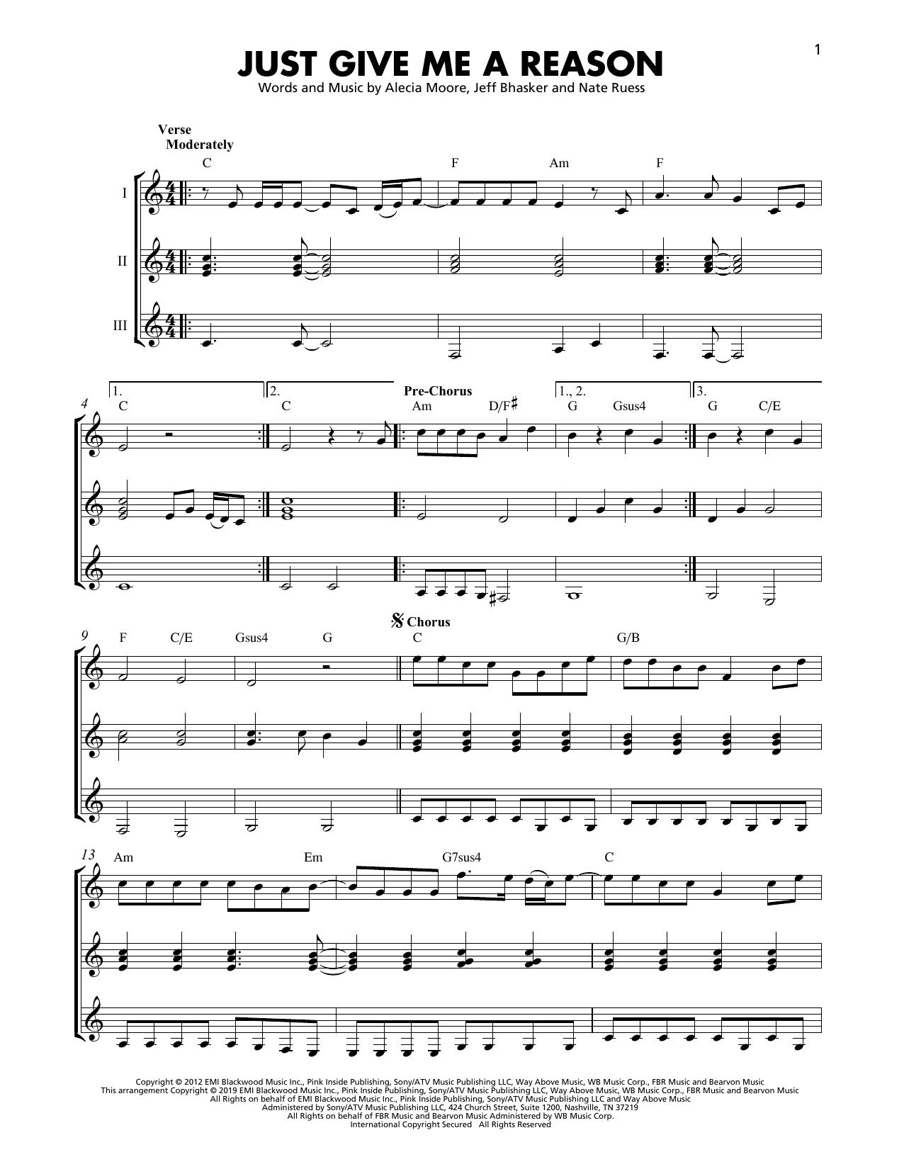 Pnk Just Give Me A Reason feat. Nate Ruess Sheet Music Notes, Chords    Download Printable Guitar Ensemble PDF Score   SKU 15