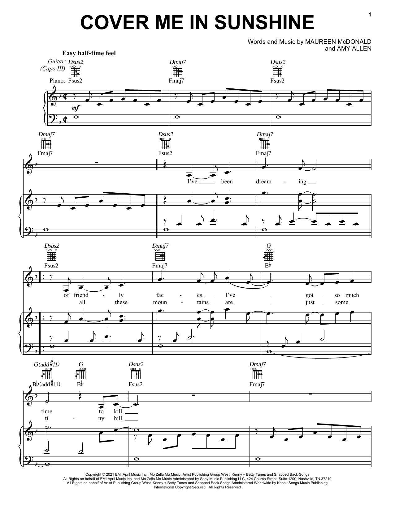 P!nk & Willow Sage Hart Cover Me In Sunshine sheet music notes and chords. Download Printable PDF.