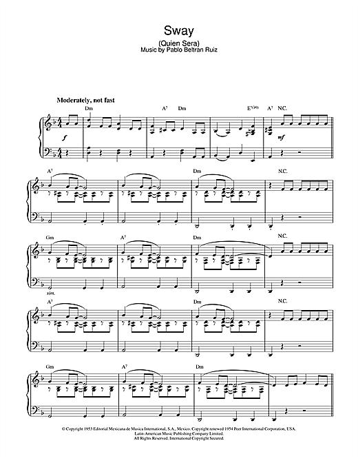 Pablo Beltran Ruiz Sway (Quien Sera) sheet music notes and chords. Download Printable PDF.