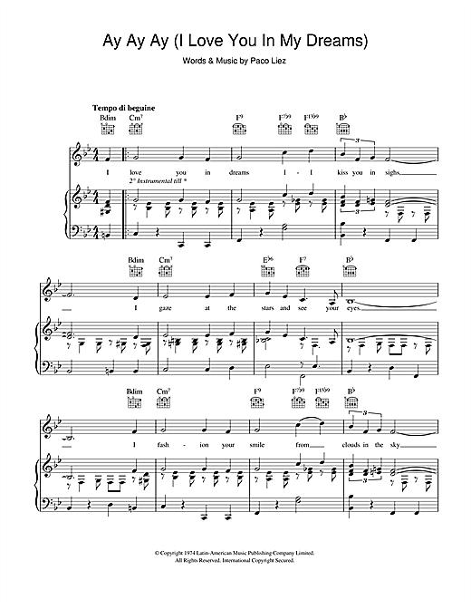 Paco Liez Ay Ay Ay (I Love You In My Dreams) sheet music notes and chords. Download Printable PDF.