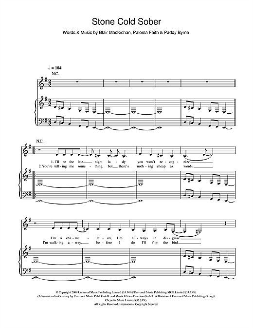 Paloma Faith Stone Cold Sober sheet music notes and chords. Download Printable PDF.