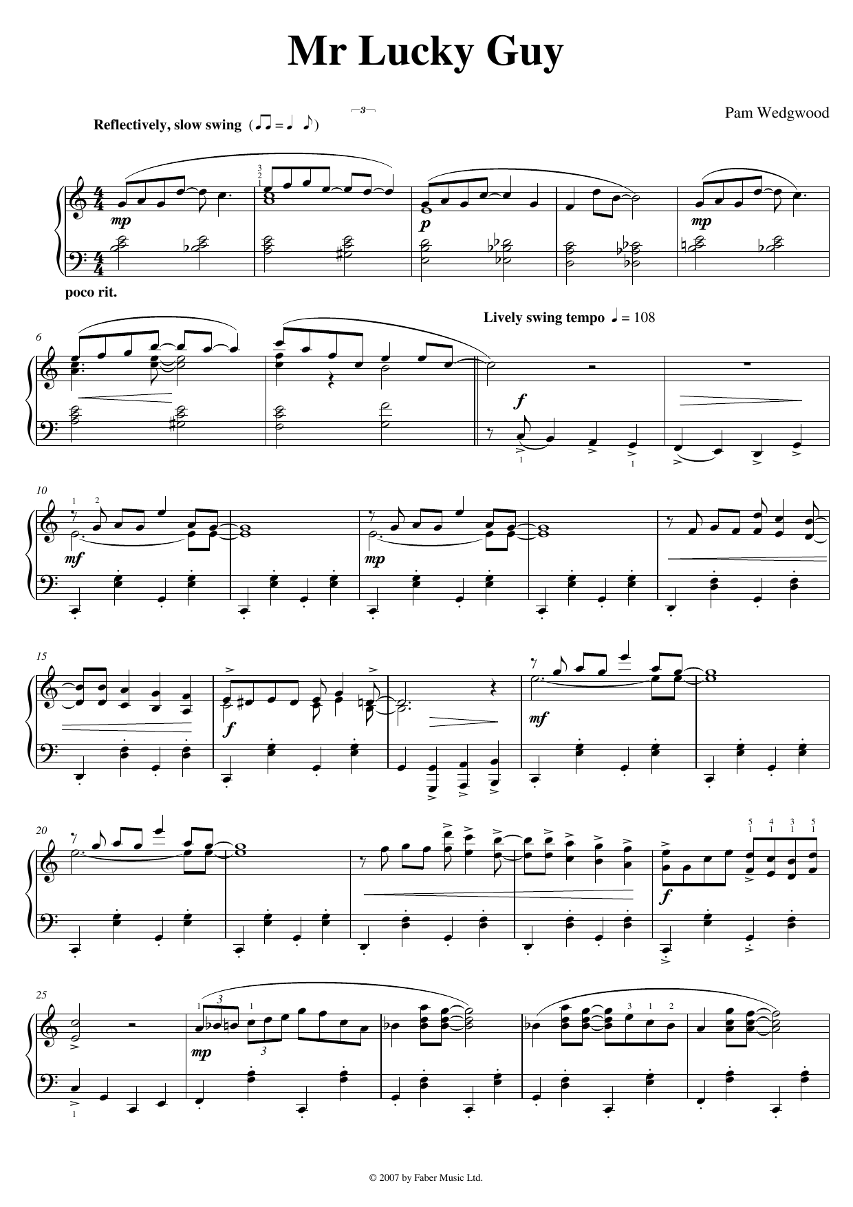 Pam Wedgwood Mr. Lucky Guy sheet music notes and chords. Download Printable PDF.