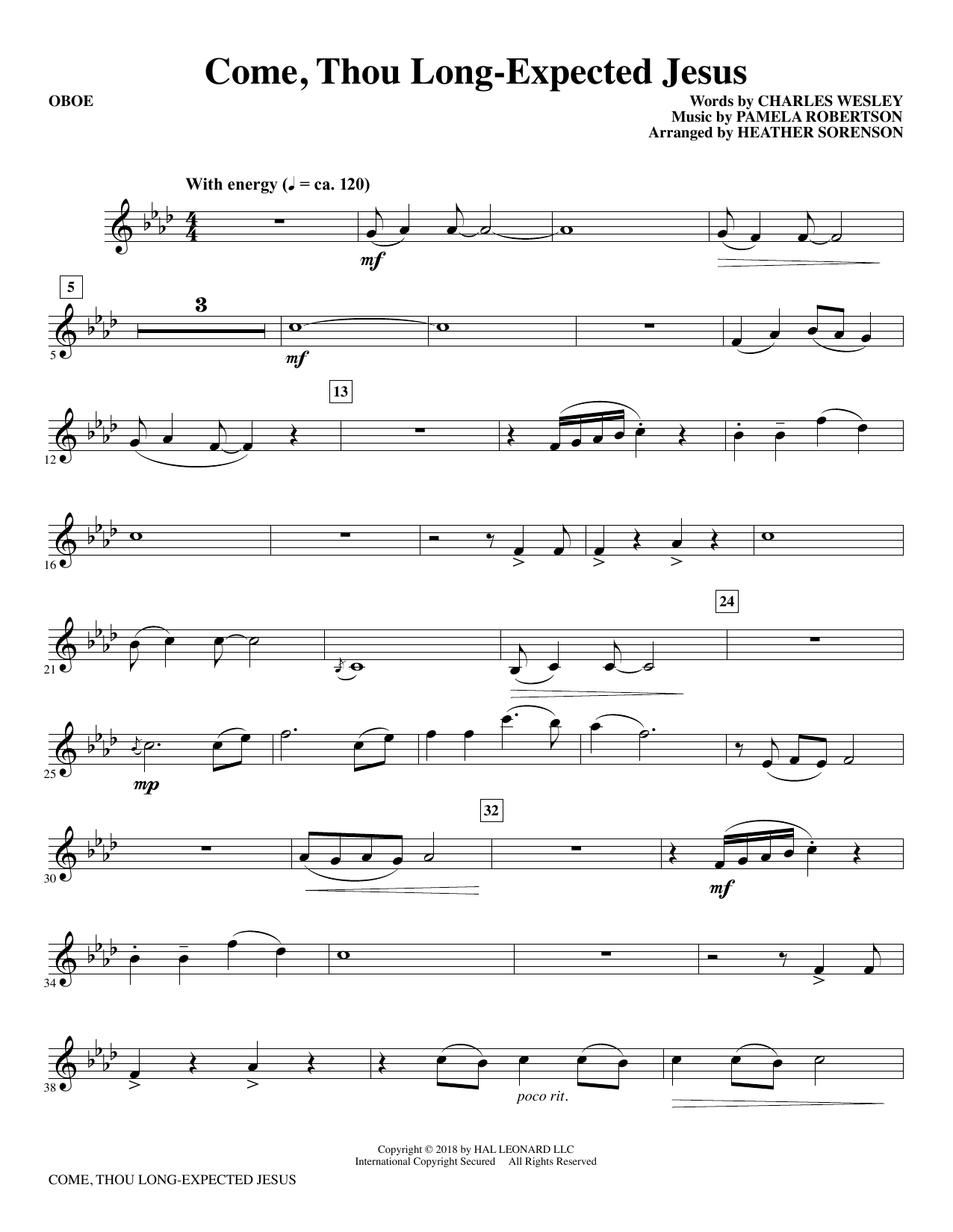 Pamela Robertson Come, Thou Long-Expected Jesus (arr. Heather Sorenson) - Oboe sheet music notes and chords. Download Printable PDF.
