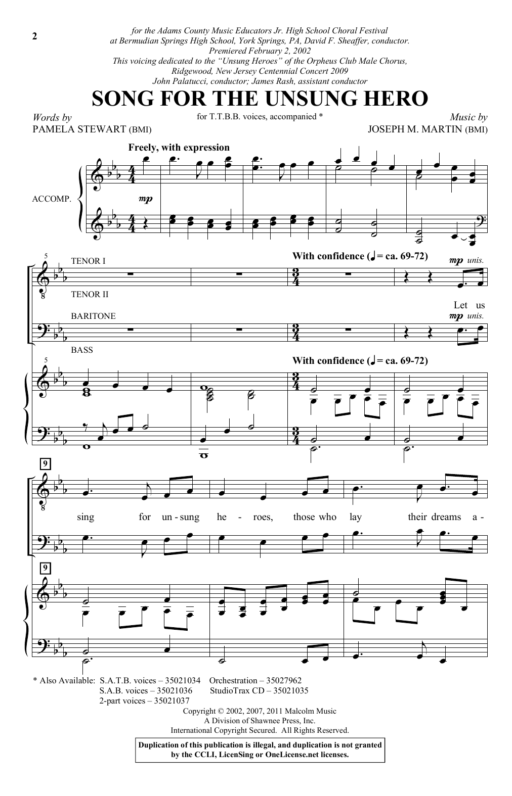 Pamela Stewart & Joseph M. Martin Song For The Unsung Hero sheet music notes and chords. Download Printable PDF.