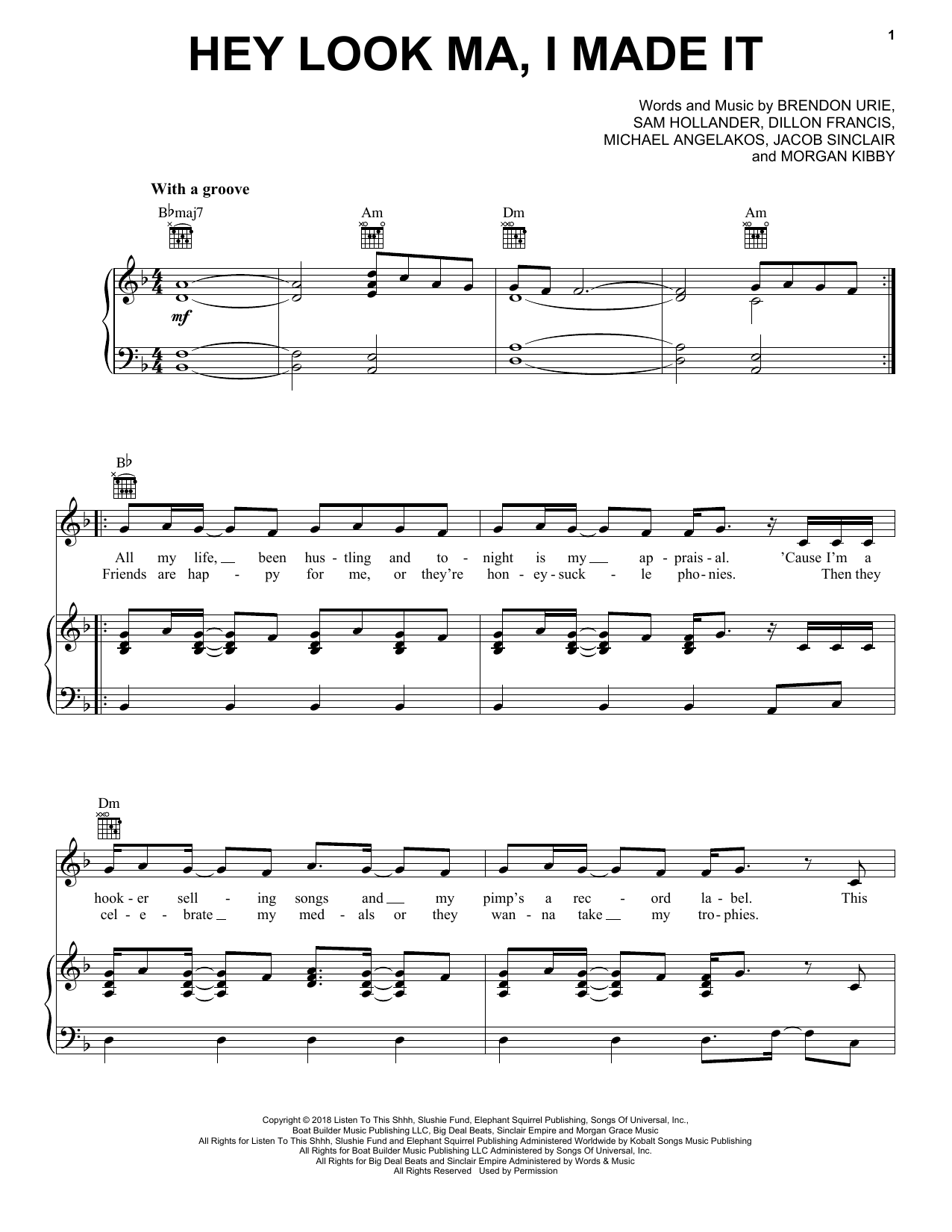 Panic! At The Disco Hey Look Ma, I Made It sheet music notes and chords