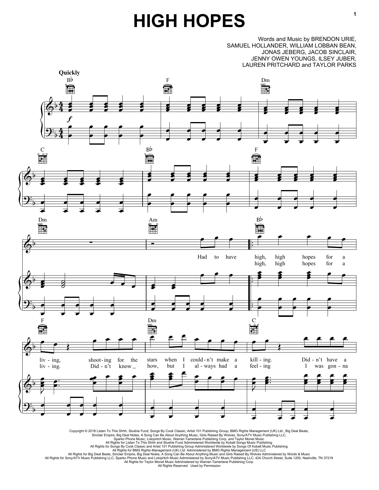 Panic! At The Disco High Hopes sheet music notes and chords. Download Printable PDF.