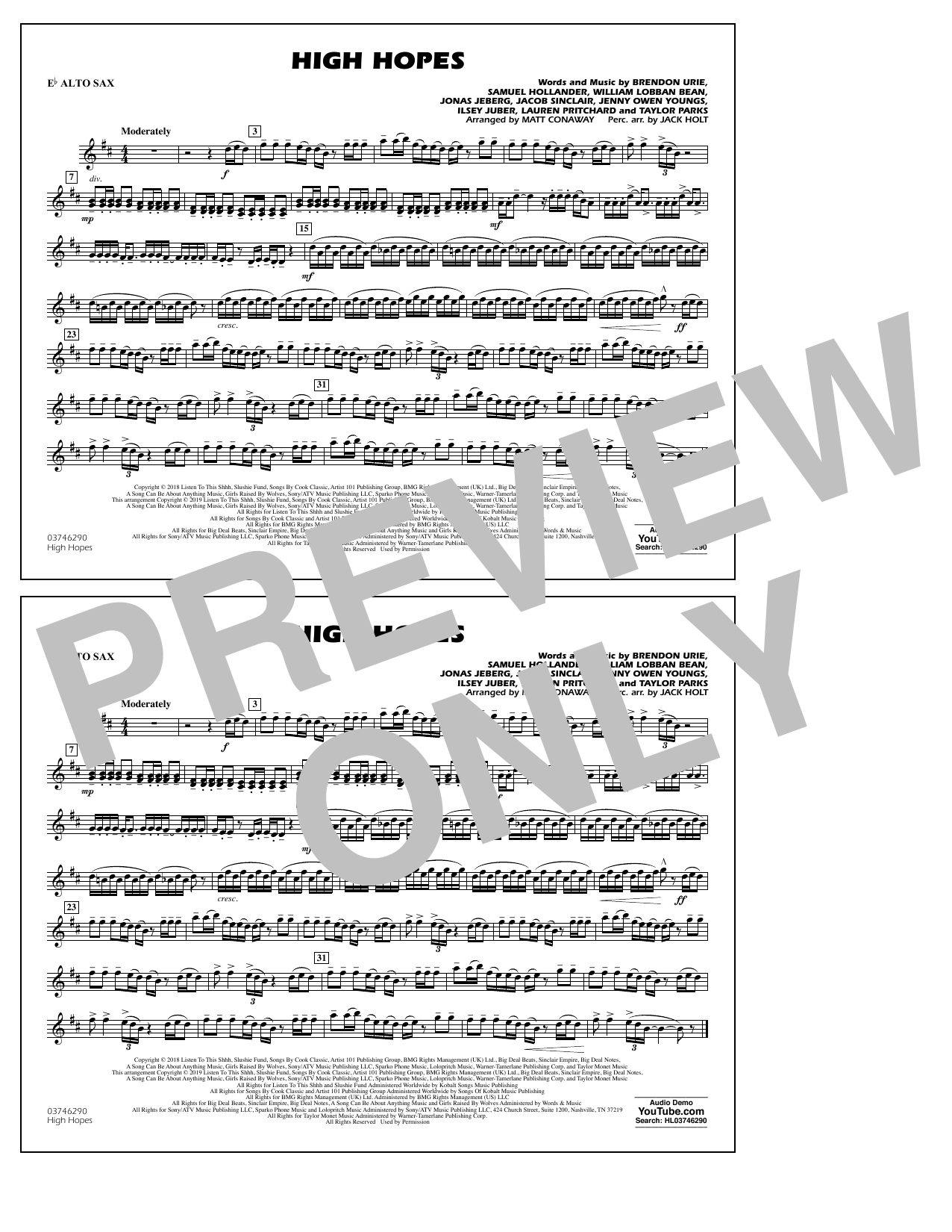 Panic! At The Disco High Hopes (arr. Matt Conaway) - Eb Alto Sax sheet music notes and chords. Download Printable PDF.