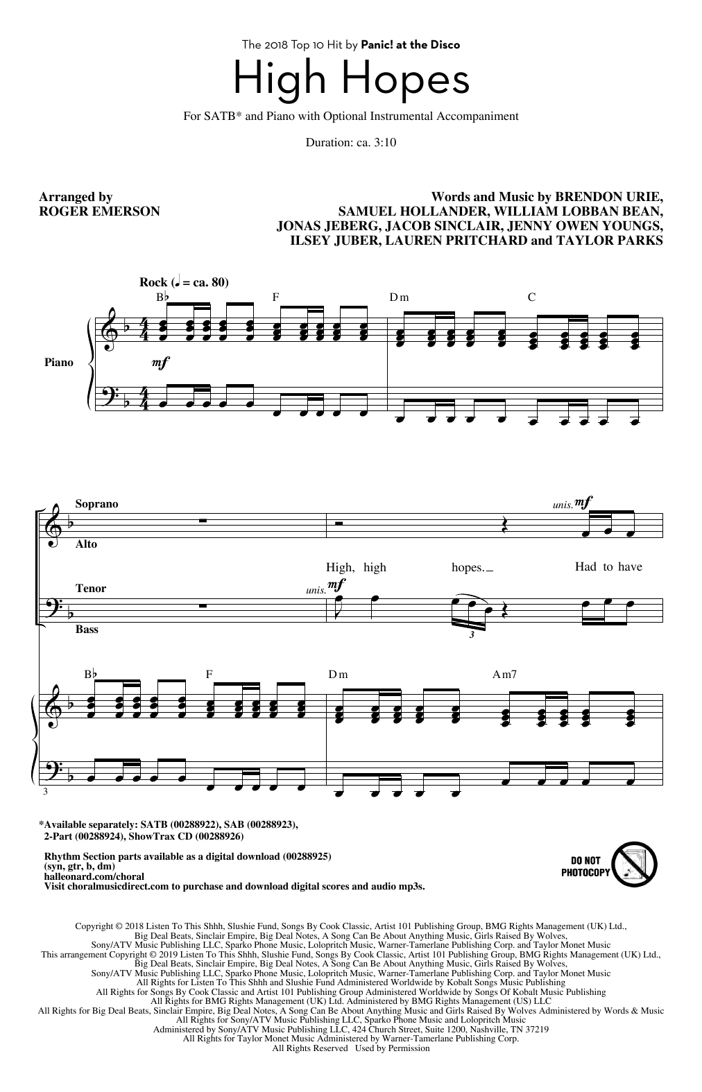 Panic! At The Disco 'High Hopes (arr  Roger Emerson)' Sheet Music Notes,  Chords | Download Printable SAB Choir - SKU: 410130