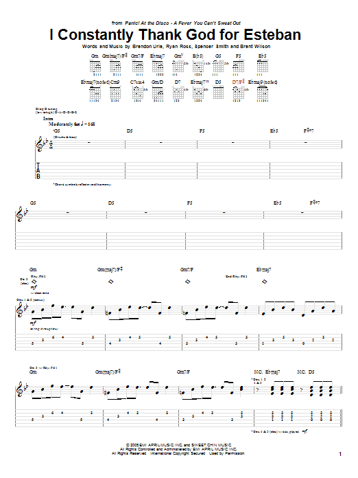 Panic! At The Disco I Constantly Thank God For Esteban sheet music notes and chords. Download Printable PDF.