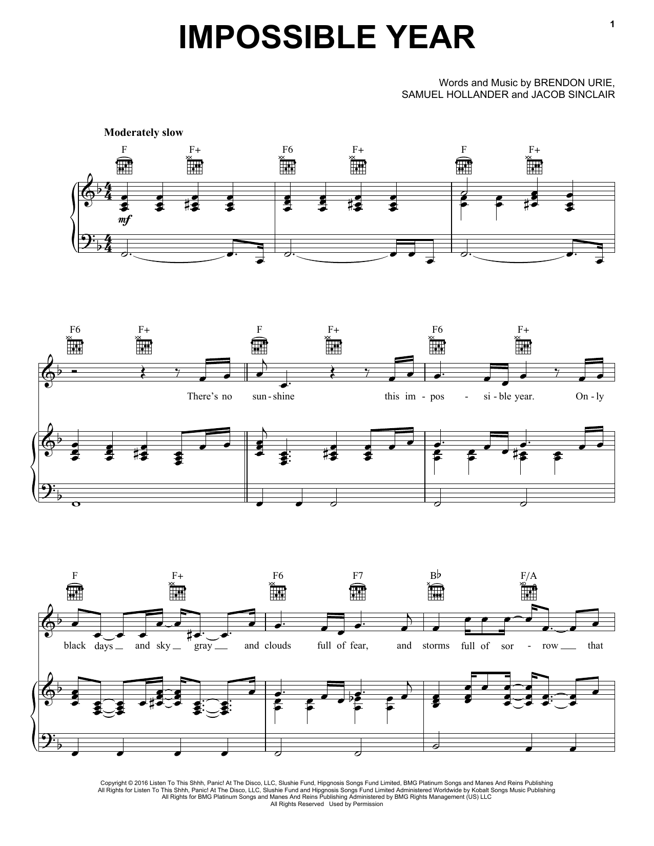 Panic! At The Disco Impossible Year sheet music notes and chords