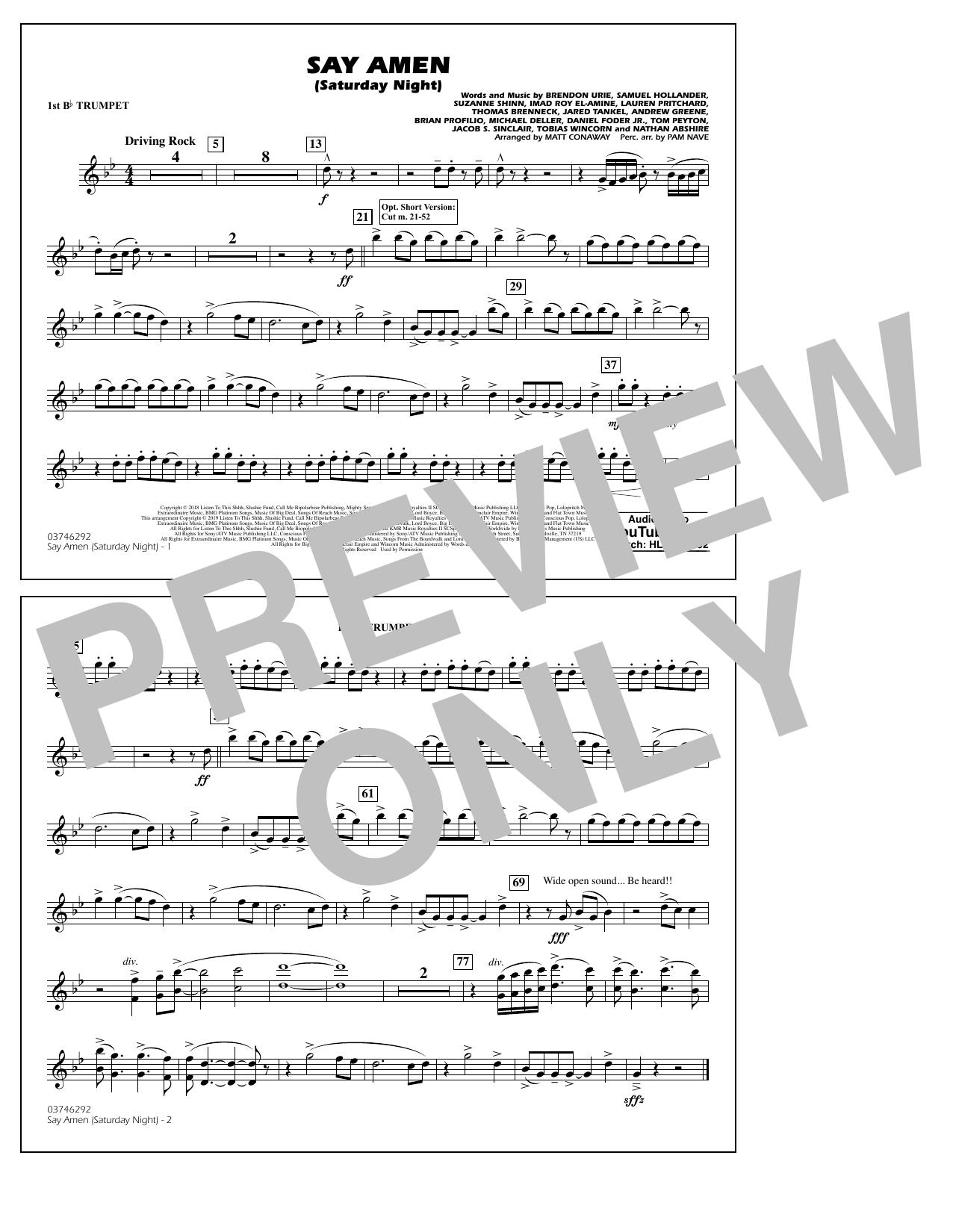 Panic At The Disco Say Amen Saturday Night arr. Matt Conaway   15st Bb  Trumpet Sheet Music Notes, Chords   Download Printable Marching Band PDF ...