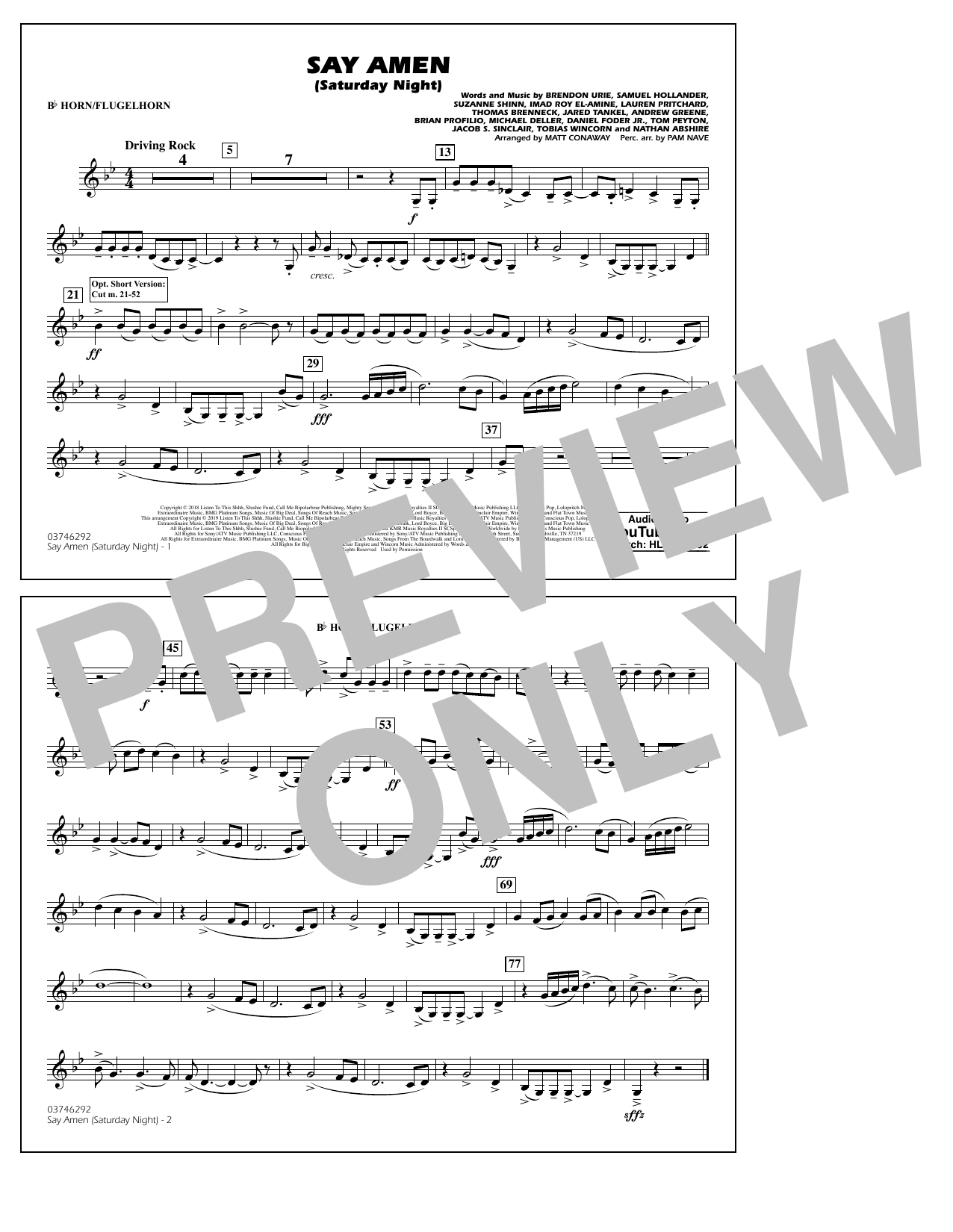 Panic At The Disco Say Amen Saturday Night arr. Matt Conaway   Bb  Horn/Flugelhorn Sheet Music Notes, Chords   Download Printable Marching  Band ...