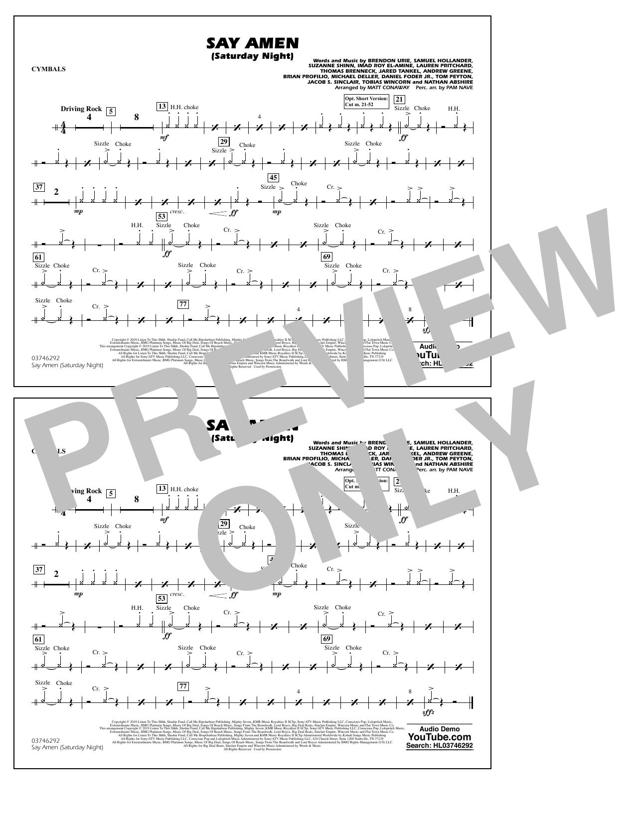Panic At The Disco Say Amen Saturday Night arr. Matt Conaway   Cymbals  Sheet Music Notes, Chords   Download Printable Marching Band PDF Score   ...
