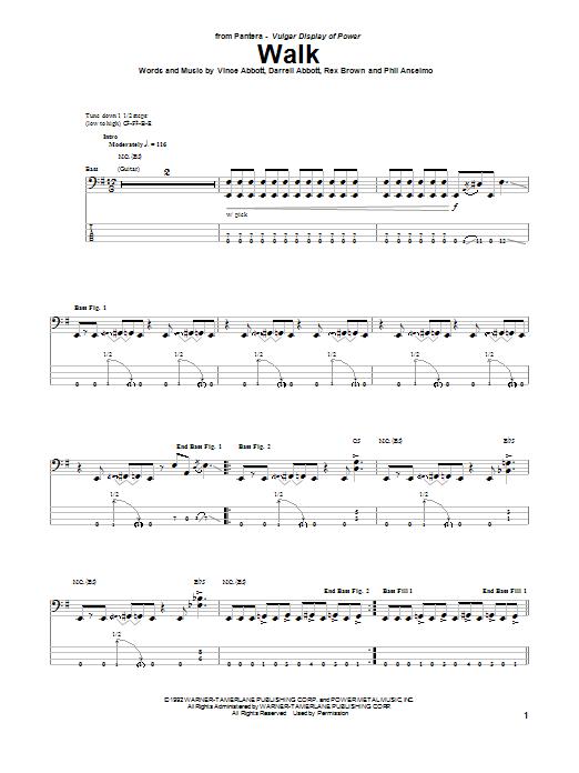 Pantera Walk sheet music notes and chords. Download Printable PDF.