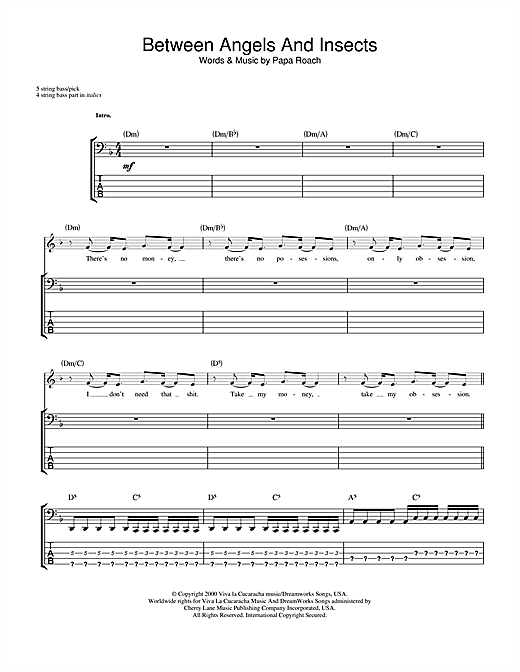 Papa Roach Between Angels And Insects sheet music notes and chords. Download Printable PDF.