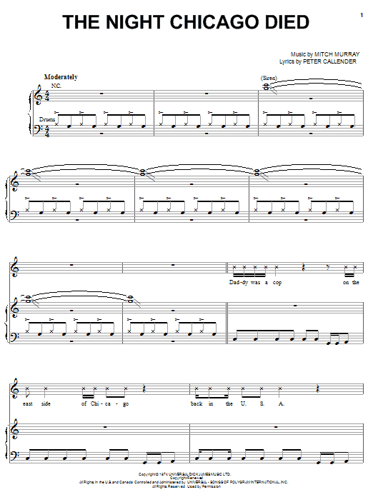 Paper Lace The Night Chicago Died sheet music notes and chords. Download Printable PDF.