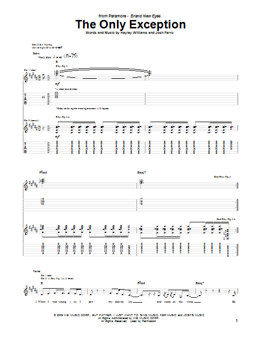 Paramore The Only Exception sheet music notes and chords. Download Printable PDF.