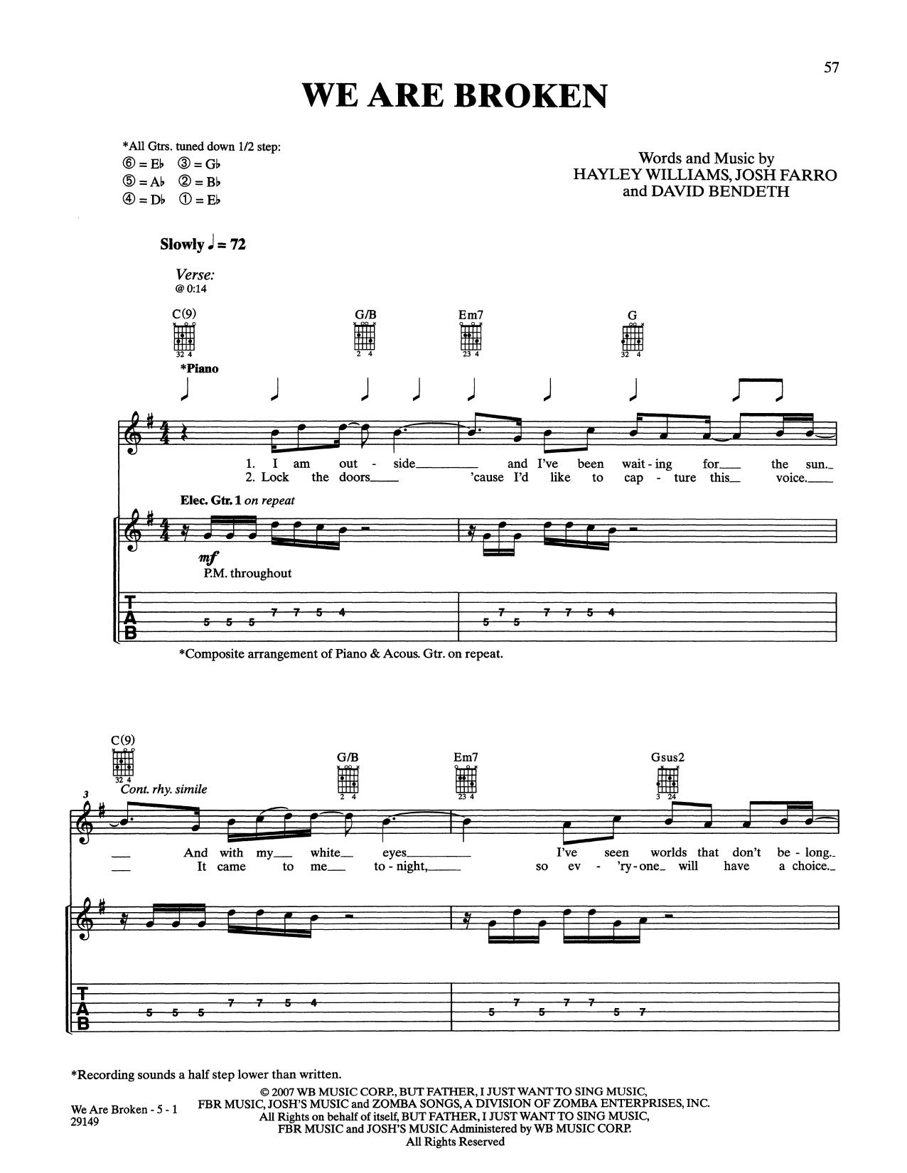Paramore We Are Broken Sheet Music