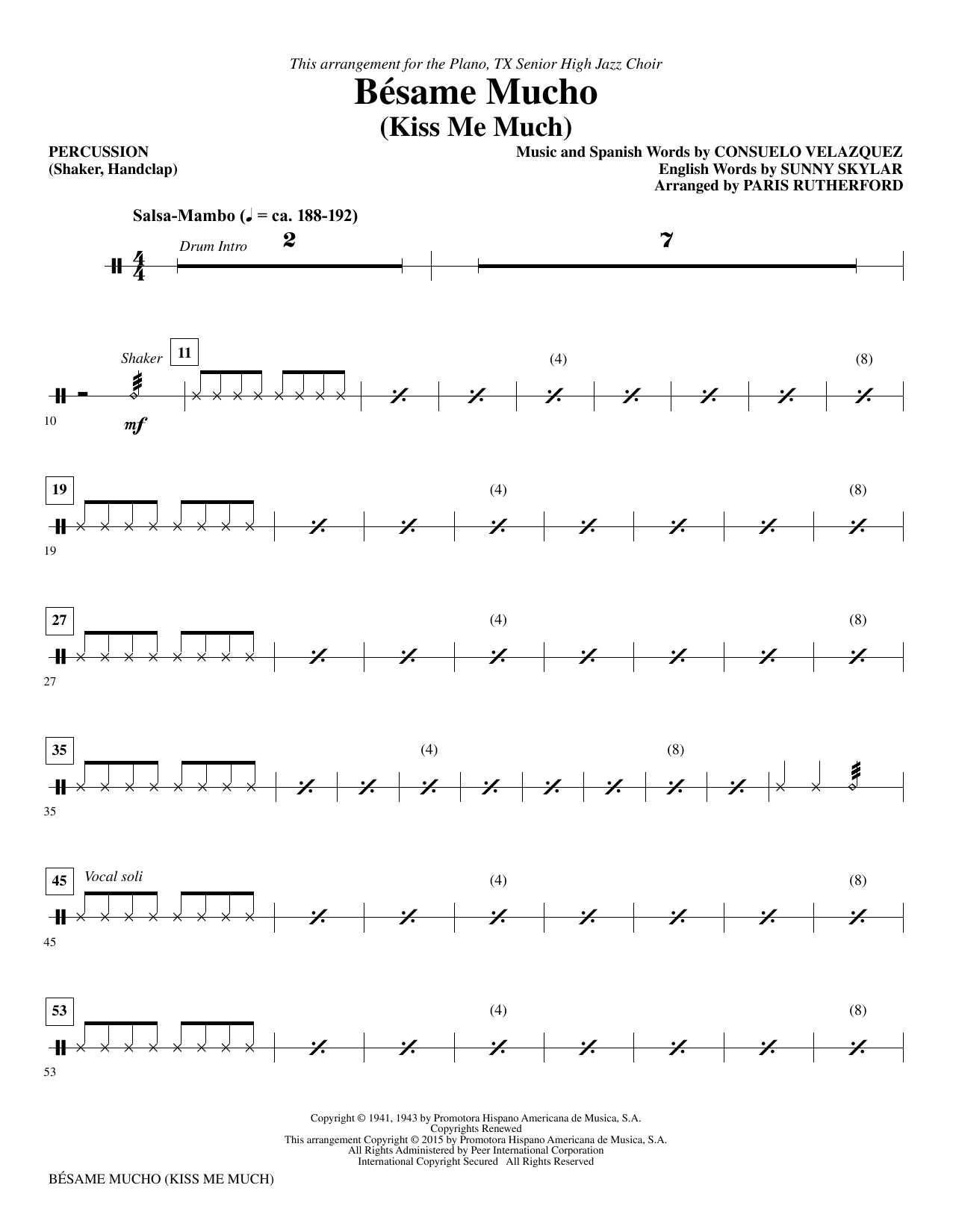 Paris Rutherford Besame Mucho (Kiss Me Much) - Percussion sheet music notes and chords. Download Printable PDF.