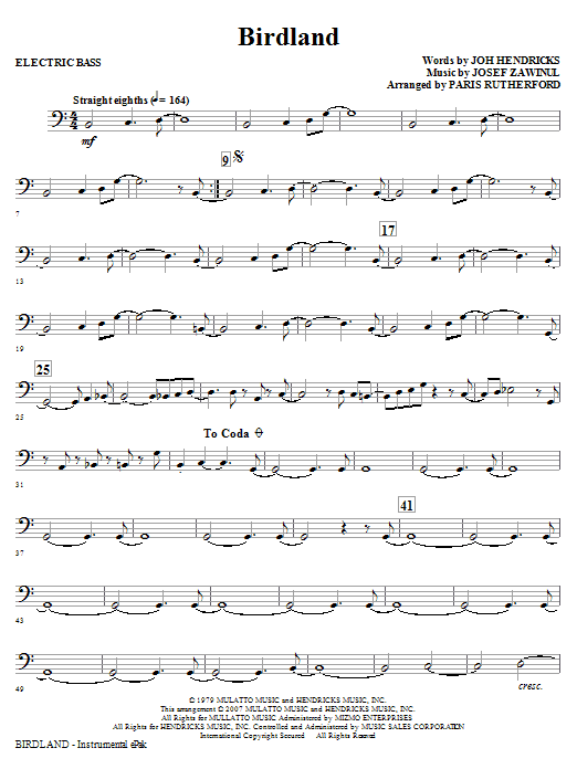 Paris Rutherford Birdland - Bass sheet music notes and chords. Download Printable PDF.