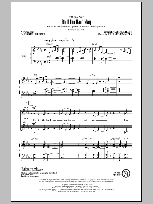 Paris Rutherford Do It The Hard Way (from Pal Joey) sheet music notes and chords. Download Printable PDF.