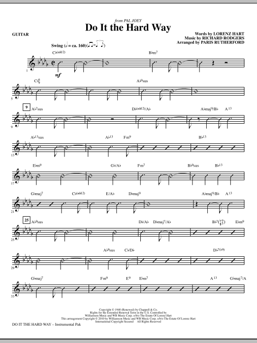Paris Rutherford Do It The Hard Way (from Pal Joey) - Guitar sheet music notes and chords. Download Printable PDF.