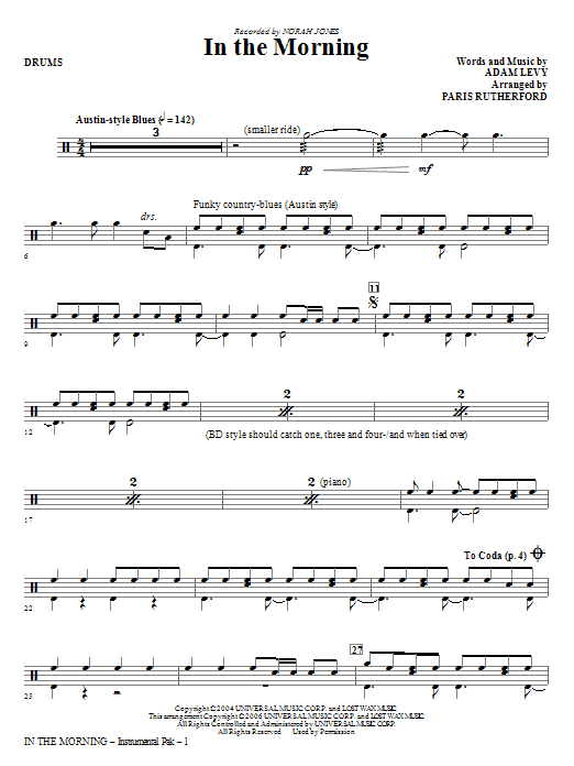 Paris Rutherford In The Morning - Drums sheet music notes and chords. Download Printable PDF.
