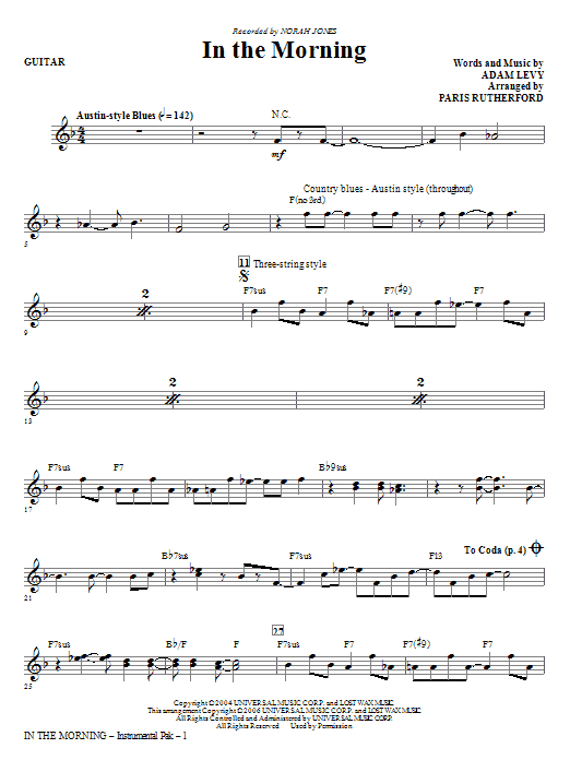 Paris Rutherford In The Morning - Guitar sheet music notes and chords. Download Printable PDF.