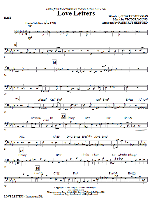 Paris Rutherford Love Letters - Bass sheet music notes and chords. Download Printable PDF.