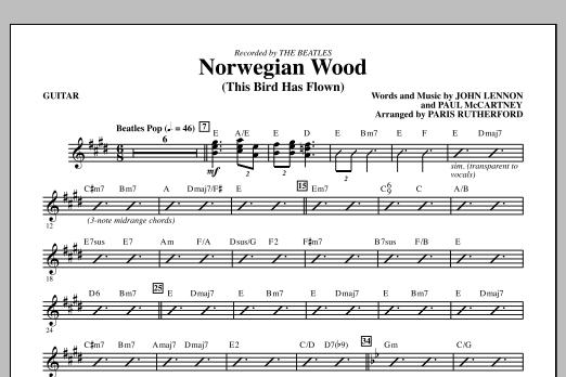 Paris Rutherford Norwegian Wood (This Bird Has Flown) - Guitar sheet music notes and chords. Download Printable PDF.
