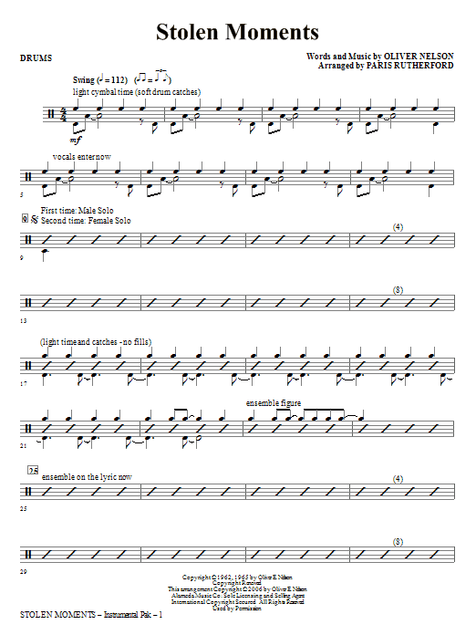 Paris Rutherford Stolen Moments - Drums sheet music notes and chords. Download Printable PDF.