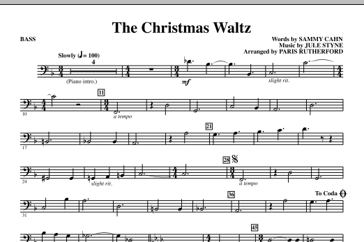 Paris Rutherford The Christmas Waltz - Bass sheet music notes and chords. Download Printable PDF.