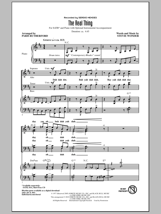 Paris Rutherford The Real Thing sheet music notes and chords. Download Printable PDF.