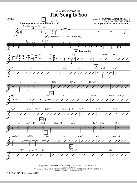 Paris Rutherford The Song Is You - Guitar sheet music notes and chords. Download Printable PDF.