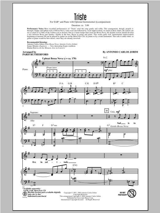 Paris Rutherford Triste sheet music notes and chords. Download Printable PDF.