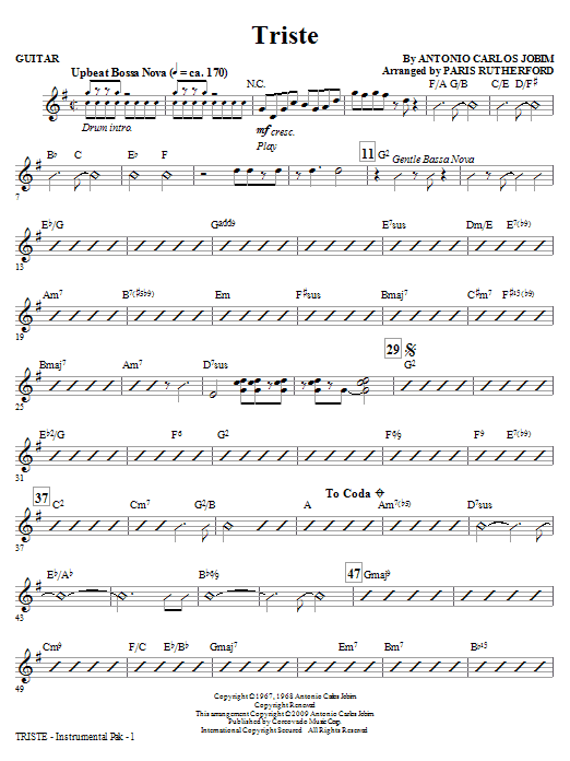 Paris Rutherford Triste - Guitar sheet music notes and chords. Download Printable PDF.