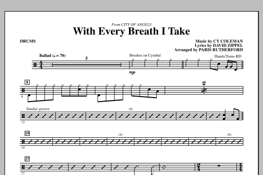 Paris Rutherford With Every Breath I Take (from City of Angels) - Drums sheet music notes and chords. Download Printable PDF.