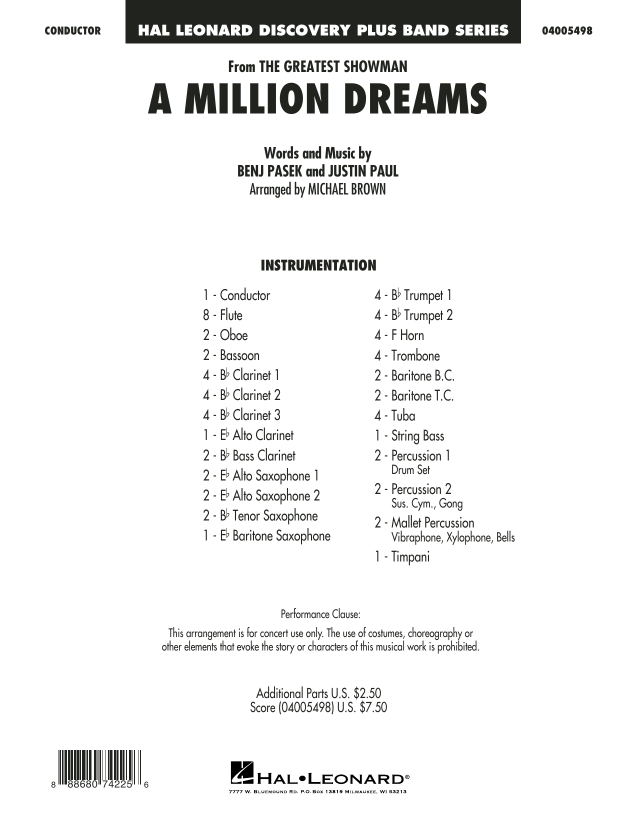 Pasek & Paul A Million Dreams (from The Greatest Showman) (arr. Michael Brown) - Full Score sheet music notes and chords. Download Printable PDF.