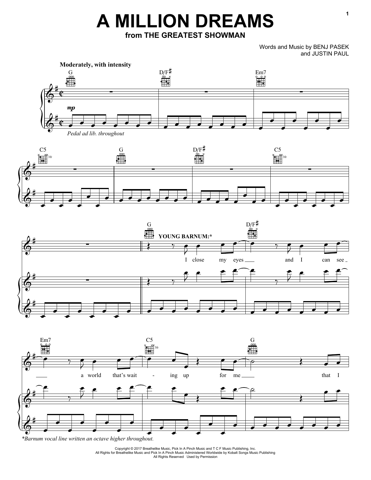 Pasek & Paul A Million Dreams (from The Greatest Showman) sheet music notes and chords. Download Printable PDF.