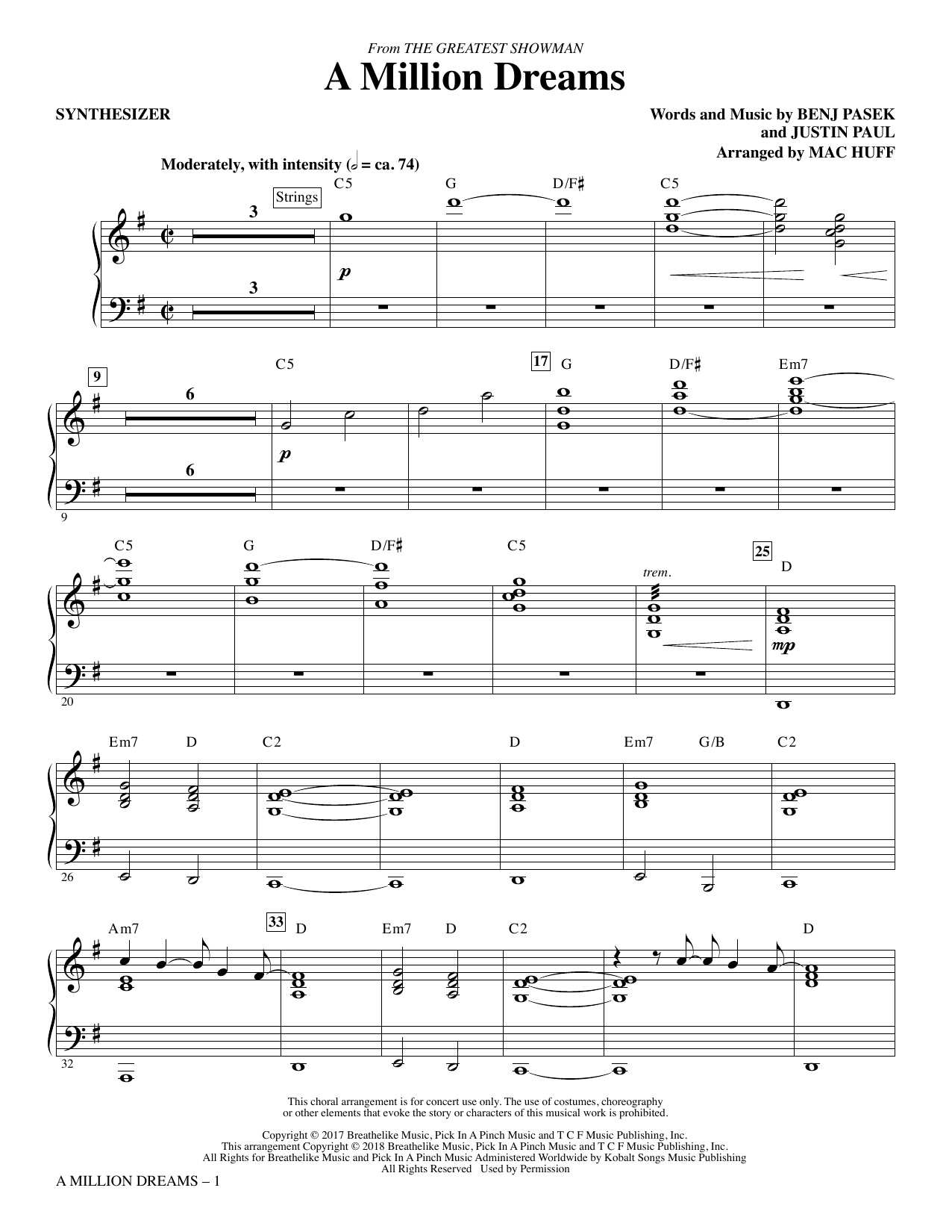 Pasek & Paul A Million Dreams (from The Greatest Showman) (arr. Mac Huff) - Synthesizer sheet music notes and chords. Download Printable PDF.