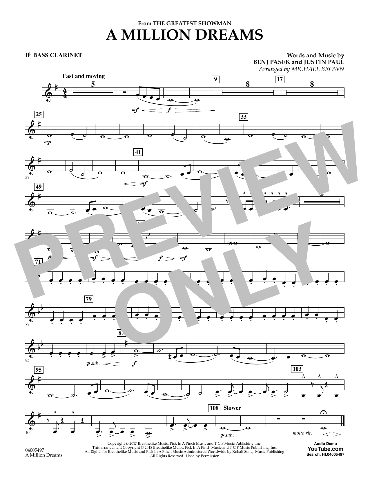 Pasek & Paul A Million Dreams (from The Greatest Showman) (arr. Michael Brown) - Bb Bass Clarinet sheet music notes and chords. Download Printable PDF.
