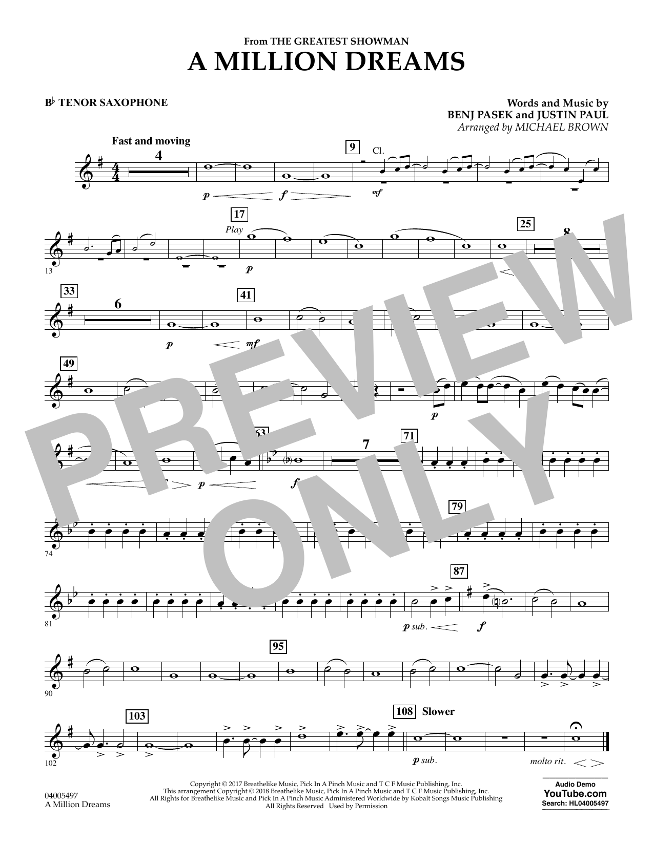 Pasek & Paul A Million Dreams (from The Greatest Showman) (arr. Michael Brown) - Bb Tenor Saxophone sheet music notes and chords. Download Printable PDF.