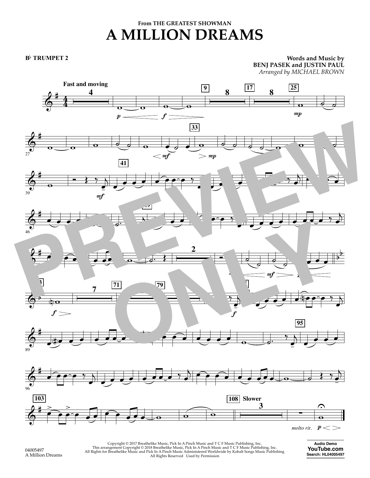Pasek & Paul A Million Dreams (from The Greatest Showman) (arr. Michael Brown) - Bb Trumpet 2 sheet music notes and chords. Download Printable PDF.