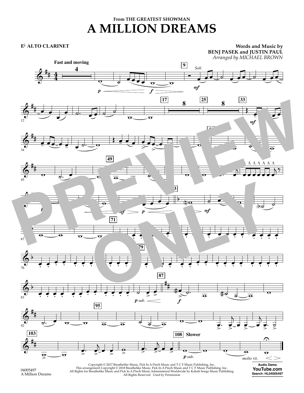 Pasek & Paul A Million Dreams (from The Greatest Showman) (arr. Michael Brown) - Eb Alto Clarinet sheet music notes and chords. Download Printable PDF.