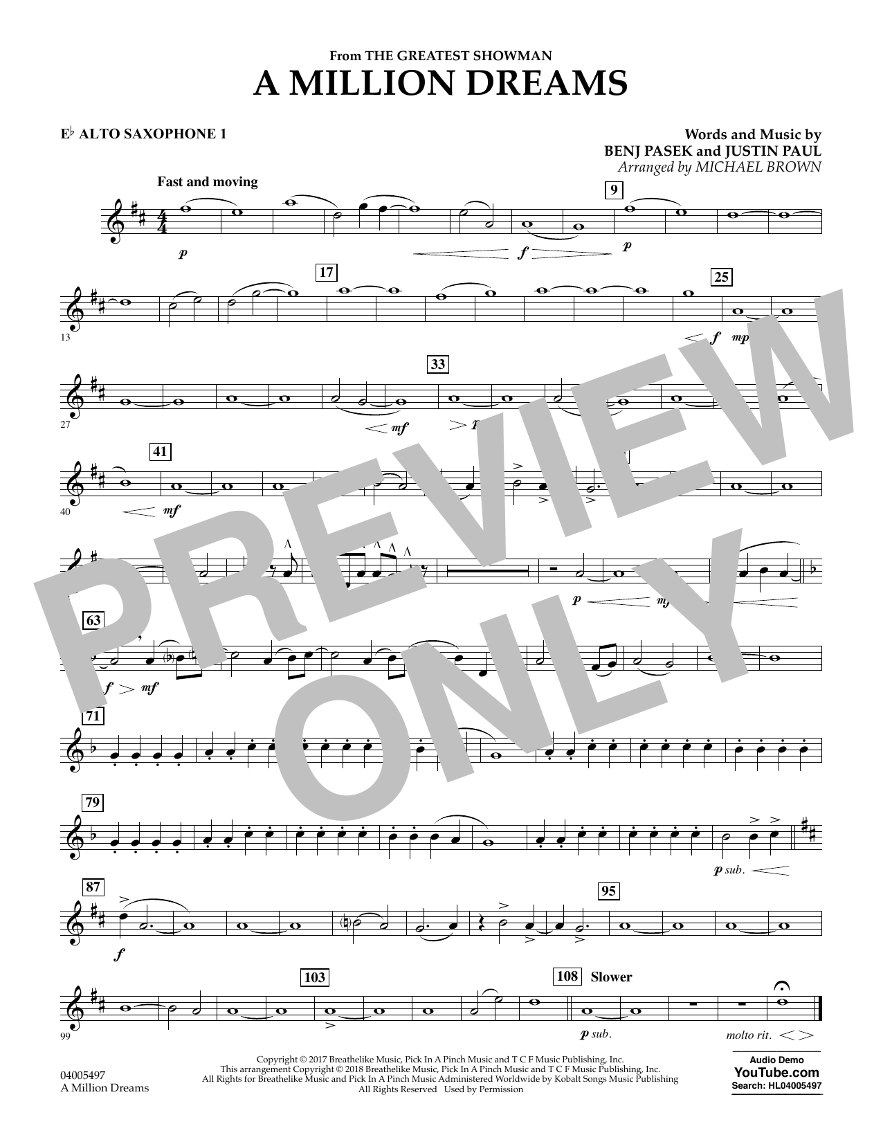 Pasek & Paul A Million Dreams (from The Greatest Showman) (arr. Michael Brown) - Eb Alto Saxophone 1 sheet music notes and chords. Download Printable PDF.